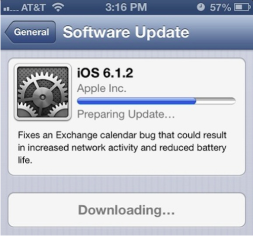 Apple Releases iOS 6.1.2 to Address Exchange Bug. Passcode Bug Remains.
