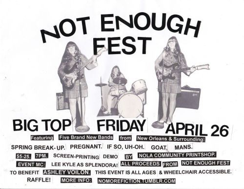 COMMUNITY SPOTLIGHT: Not Enough Fest in NOLA This event is happening in in New Orleans TOMORROW 4/26! Organized by POCZP member Osa Atoe & No More Fiction, Not Enough Fest will be held at The Big Top, 1638 Clio Street, New Orleans, Louisiana. $5-25 sliding scale at 7pm.  INFO: http://nomorefiction.tumblr.com/notenough Osa Atoe started Not Enough Fest. Debuting this spring, the fest will feature all brand-new bands fronted by women or queer people. Atoe created Not Enough Fest to further No More Fiction's mission and goals: supporting all-girl, mixed gender, female-fronted, queer and feminist DIY punk bands locally and nationally (read more here).  No More Fiction began in 2009 to create woman-positive and queer-positive spaces in New Orleans for local DIY bands and for bands on tour. No More Fiction is inspired by the riot grrrl movement and by the existence of Girl Gang Productions a group of queer women who put on queer punk shows and drag shows in New Orleans up until around 2006.  Aside from booking shows, No More Fiction has held workshops open exclusively to women, queers and people of color to encourage their participation in DIY music making.  Want to collaborate? Email: nomorefiction@gmail.com Not Enough Fest would not be happening without the support of Queerspiracy. Look them up & get involved: http://nolaqueers.tumblr.com/ Help spread the word about Not Enough Fest! <3