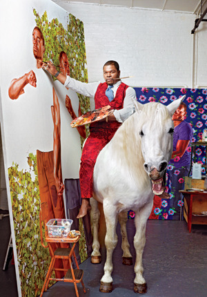 "dailyartspace:   WORTH SHARING:  An interview with Kehinde Wiley in GQ At 36, he is already one of the art world's brightest lights, painter of portraits that borrow heavily from the old to make something blazingly new. Where once there were only white kings and their queens, Kehinde Wiley inserts the ""brown faces"" long absent from Western art. Rappers, athletes, kids off the street. Wyatt Mason hangs with Wiley as he hits the beaches and markets of North Africa, handpicks his subjects, and transforms them, step by inspired step, into an ambitious new series of paintings. This is how a masterpiece is made. [Read more on GQ]"