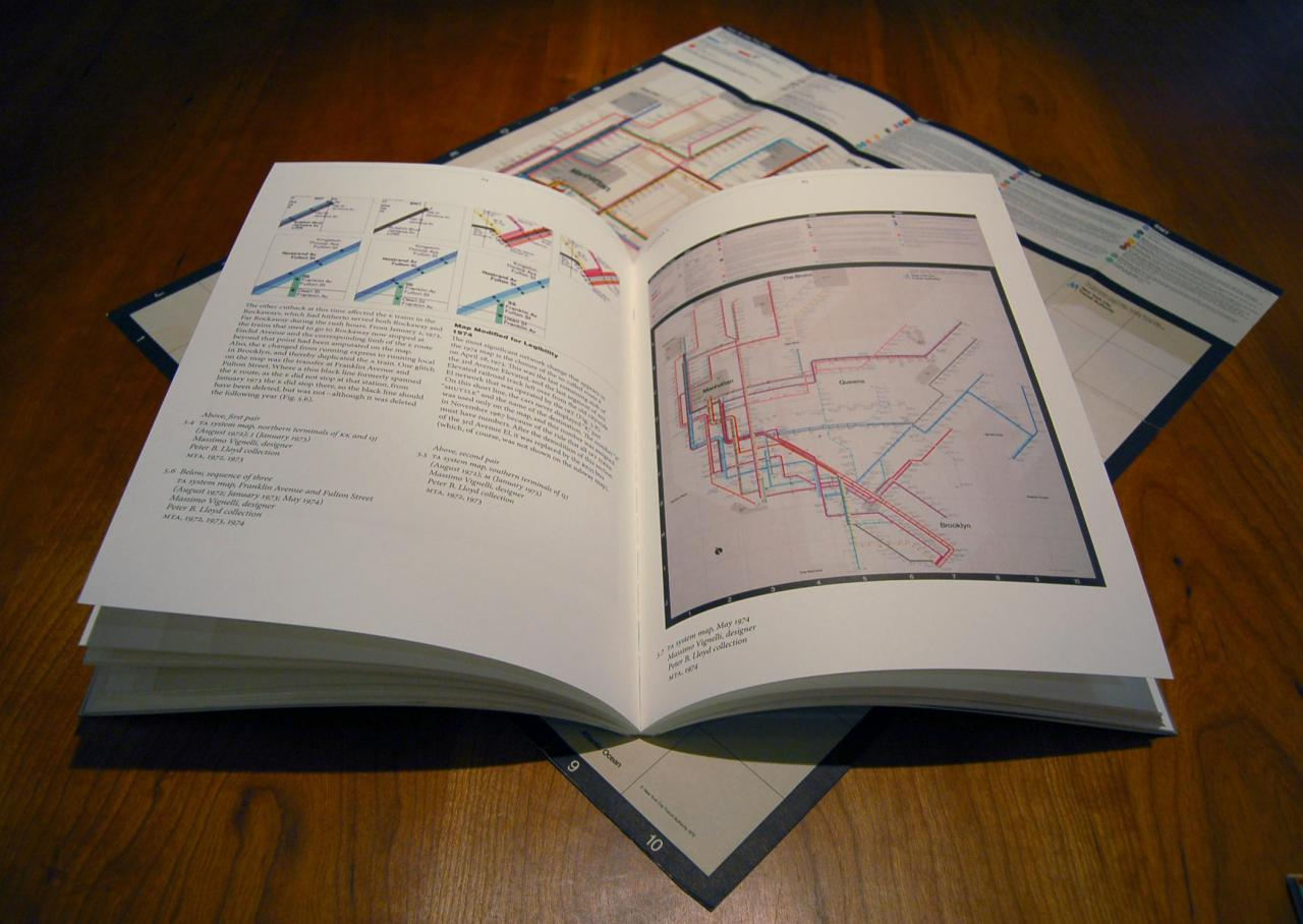 "Book Review: ""Vignelli Transit Maps"", Peter B. Lloyd with Mark Ovenden As a graphic designer with a keen interest in transit maps and a fairly thorough knowledge of their history and usage, I thought I had a decent understanding of Massimo Vignelli's diagrammatic version of the New York Subway map, which was used from 1972 to 1979. This outstanding book has proved me almost completely and utterly wrong. So much of what we think we know about the Vignelli map is simply hearsay and legend, repeated Chinese whisper-style across the internet, until we're left with something that almost, but not quite, resembles the truth. Fueled by excellent research and interviews, and presented with beautiful (if occasionally a little small) maps, photos and illustrations, this book is essential for any lover of transit maps and good graphic design. More than anything else I've read, this book places the Vignelli map in a proper historical context — what preceded it and why that left the door open for a modernist design firm (rather than cartographers) to produce something new, but also what led to its abrupt and premature death in 1979. There's definitely more to the story than the usual ""New Yorkers didn't like a diagram/square Central Park/beige water"" reasons that you often hear. As well as a thorough analysis of the map itself — reproductions and accompanying text are presented for every version of the map — the book also delves deeply into the labour-intensive and time-consuming production methods required to create a map as complex as this in the days before computer-aided design. Asked to come up with an initial conceptual ""trial map"" in 1970, junior designer Joan Charysyn (who also independently created this New York Commuter Rail diagram in 1974) had to hand-cut pieces of PANTONE colour film into 1/8"" strips and then assemble the route lines onto a one-foot-square board, adding station label type as well. Of the work, Charysyn simply states, ""the execution of the comp was tedious and done in as few pieces as possible."" The book also deals with Vignelli's work for the Washington, DC Metro: he designed the wayfinding and station signage that is still largely in use today, but the contract for the system map was given separately to Lance Wyman. The book shows some of Vignelli's very early (and very minimalist!) conceptual sketches for the map, and explains exactly why Lance Wyman's proposed station icons (similar to the ones he had designed for Mexico City's Metro) never got off the ground. The book also discusses the reintroduction of the Vignelli map in 2008, comparing and contrasting it against the other modern player in the New York Subway map market — Eddie Jabbour's Kick Map (Jabbour writes a preface for the book, and his admiration for Vignelli's design philosophy and body of work is obvious). This book is absolutely essential for any lover or student of transit maps or graphic design. It's well written, thoroughly researched and beautiful to look at: what more do you need? Five stars!  Published by RIT Press, December 2012. 128pp.Order page is here — Book is $US34.99 plus shipping. (Note: Transit Maps purchased their own copy of this book, and did not receive any compensation for this review, financial or otherwise)"