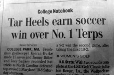 Headline refers to wrong sport - the UNC win was in men's lacrosse. The 10-8 final score (and the fact that it is March) should have been a hint.