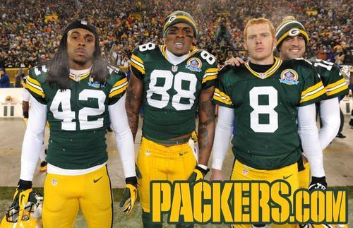 2012 Week 14: Detroit Lions Left to right: Morgan Burnett, Jermichael Finley, Tim Masthay