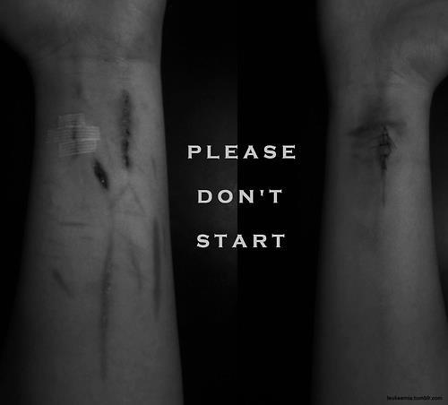 if you've never ever cut/self-harmed before, please don't start. you need to understand what you're getting yourself into. it's nothing like what you think it's like. you can't stop whenever you want. first you'll start with little cuts here & there, thinking it's no big deal. soon, those little cuts won't be enough. you'll have to go deeper. it'll become an addiction that you have to keep feeding. you won't know what's gotten into you, but all you'll be able to think about is cutting. there goes your grades, friends, & family. there goes your life. you'll have to cut every night just to feel slightly okay. it'll get harder & harder trying to cover them up. people will question why you're always wearing sleeves or why you flinch when they touch your arm. please don't start.