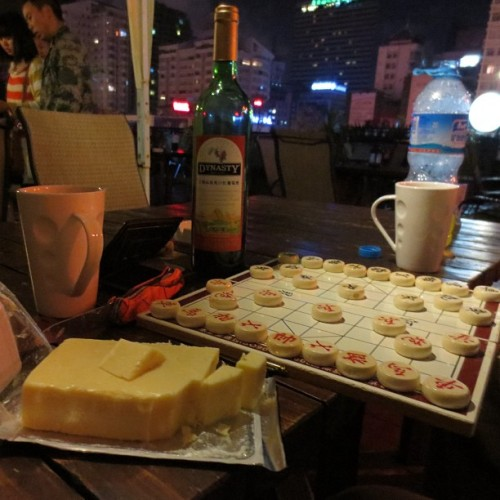 Wine, cheese and 象棋 on the roof of the coolest hostel I've been in China (at The Hump)