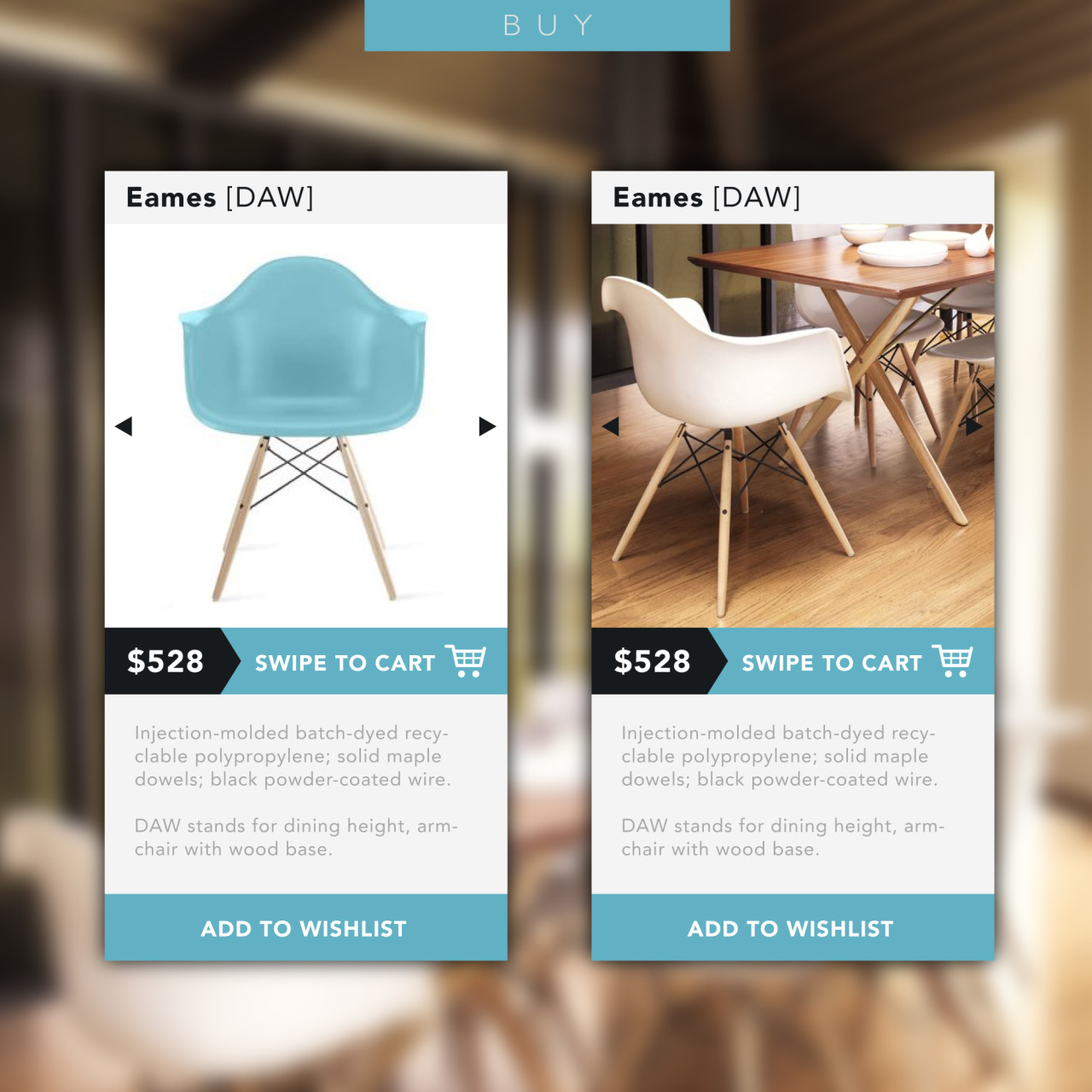 Designing small, clean interfaces. This one is for buying chairs.