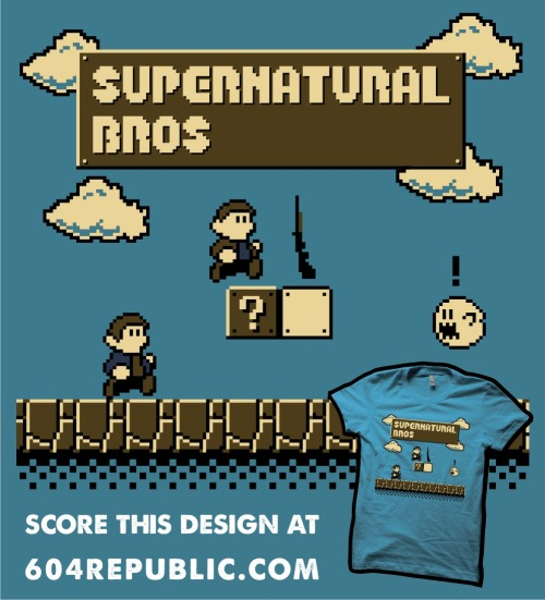 My 'Supernatural Bros.' T-shirt design is now up for voting over at 604Republic.com and if you think that it should be printed then please head over to www.604republic.com/design/supernatural_bros and score it highly! If you aren't a Supernatural / Super Mario fan though you can also still purchase my Shaun of the Dead 'Red On You' T-shirt from 604Republic at www.604republic.com/prod/red_on_you_t_shirt! :P | Facebook | RedBubble | Society6 | Tumblr |