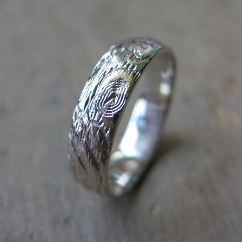 5mm woodgrain ring 14kt white gold made to order