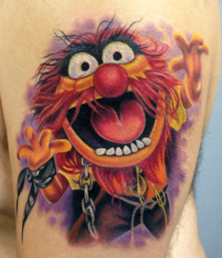 fuckyeahtattoos:  Animal from the Muppets. Tattoo by Mindy Stewart at Olde Tyme Tattoo in Titusville FL. Facebook.com/TattoosbyMindyStewart Instagram:MindyXIII