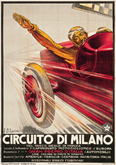 Romano Di Massa (1889-1985) Poster For Circuito Di Milano a lithograph in colours, 1924, printed by Flli.