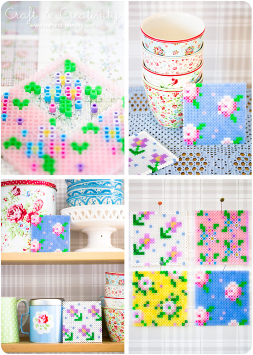 DIY Cross Stitch Inspired Perler Beads Tutorial from Craft and Creativity here. I can see using these floral patterns for pendants, etc… Use a cross stitch generator to make your own cross stitch designs that I posted here: truebluemeandyou.tumblr.com/post/20122380140/diy-free-cross-stitch-generator-for-your-photos For more unique Perler Beads projects go here: truebluemeandyou.tumblr.com/tagged/perler-beads