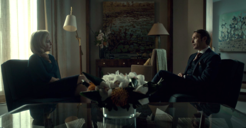 "cleolinda:  (via Occupation: Girl - Recap: Hannibal 1x08: ""Fromage"")  Of course, there's a third possibility, courtesy of Dr. Bedelia. ""For the first time in a long while, I see the possibility of friendship,"" he tells her at his next therapy session. ""I met a man… much like myself. Same hobbies, same worldviews… but I'm not interested in being his friend. I'm curious about him, and that got me curious about friendship."" God, he really does talk like some alien creature in a person suit. This thing you huu-mans call ""friendship,"" is it quality?  There is also kissing and fighting, but I didn't want to spoil much of that."