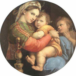 Raphael, The Seated Madonna 1514 on Flickr.  Click image for 650 x 655 size. Merry Christmas!
