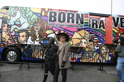 "Lady Gaga and her ""Born Brave Bus""…The Bus is a 'tailgate' for youth, to be held outside the venue of each of Lady Gaga's tourstops for her US leg of the ""Born This Way Ball Tour"". Lil monsters can hangout, take part in activities and more…"