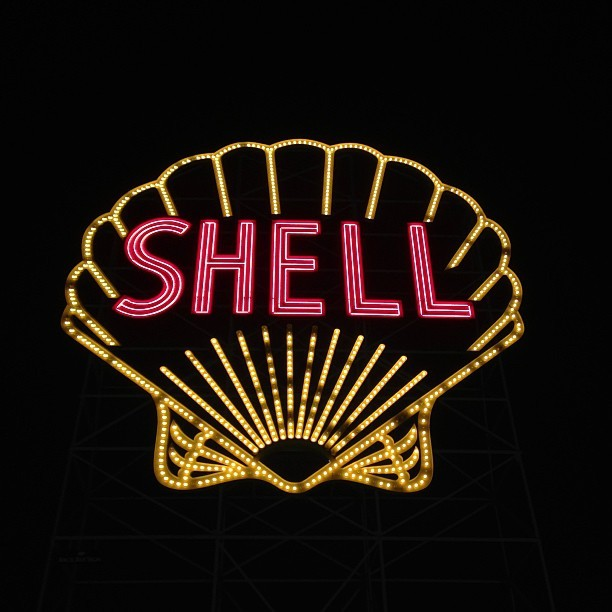 We love our neon oil company signs here. (at Shell Gas Station)
