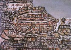 Jerusalem on the 6th century Madaba Map