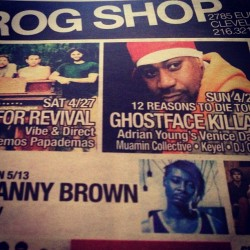this Sunday ghostface is at the grog shop tix @heartandsole216 #ghostface #prettytone #grogshop #hns216
