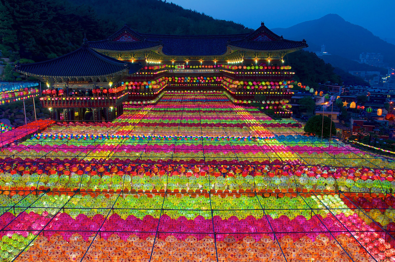 Busan's Samgwangsa Temple might put on Korea's most spectacular lotus lantern display.