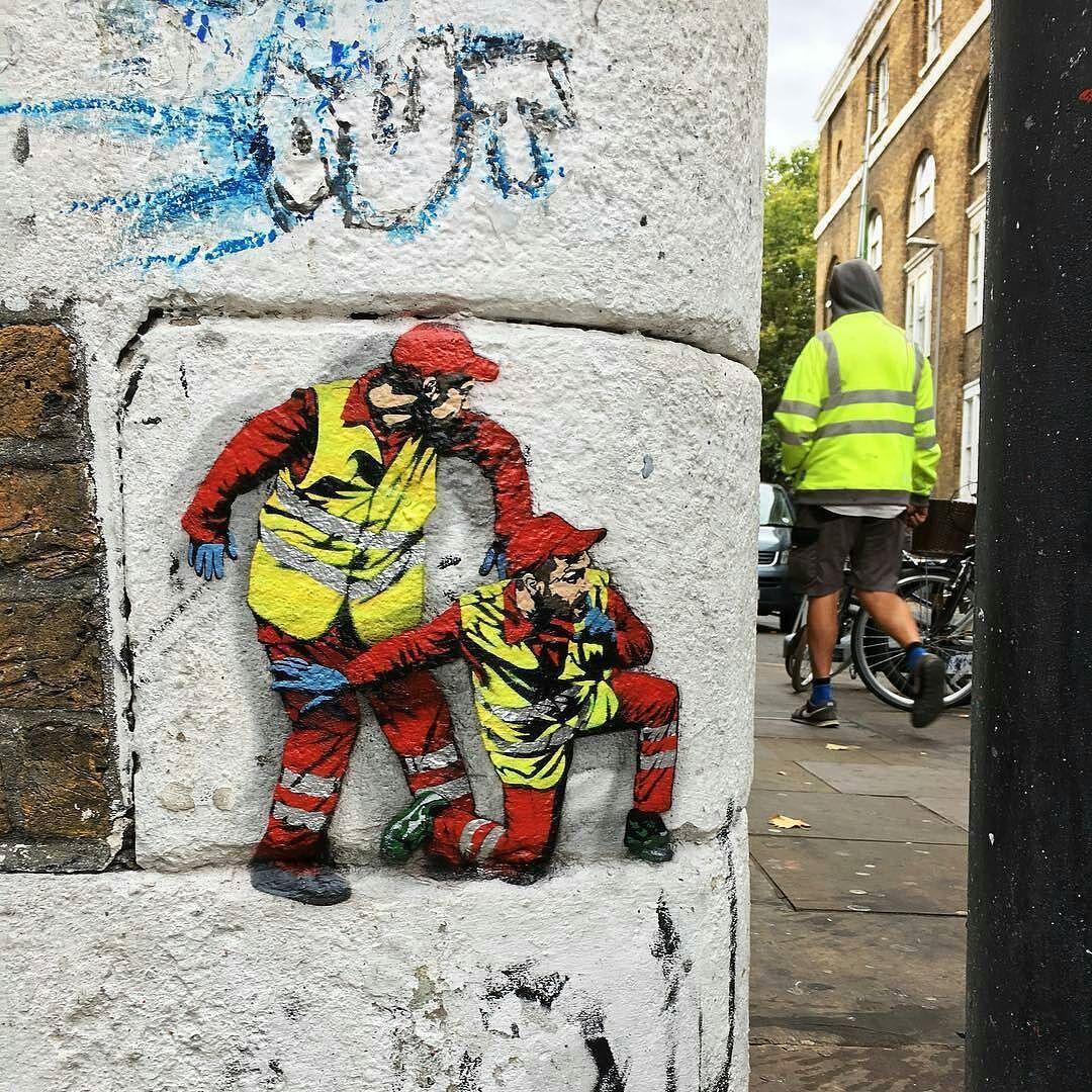 thcrstlshp:  @jaune_art's little garbage men aka ninja's are taking over London city!#jaune_art #streetpainting #stencilart #monikerart #thinkspacegallery #eggs #bacon #sausage #beans #london - #regrann https://www.instagram.com/p/BaIJY1YlC5S/