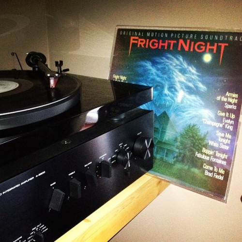 You can't run from the beast inside of you… #nowspinning #FrightNight #vinyl #vinyligclub #soundtrack #80s