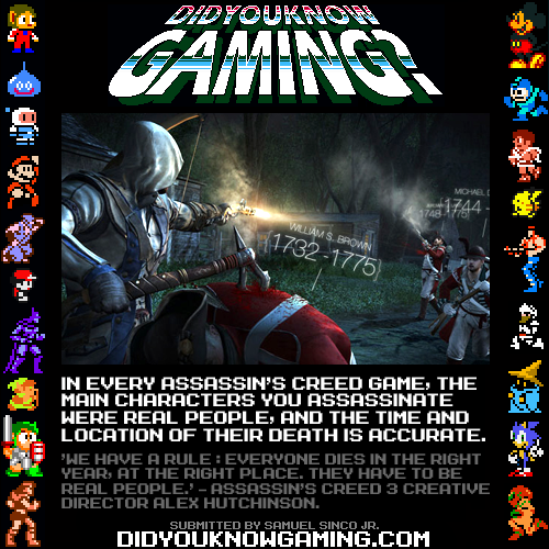 didyouknowgaming:  Assassin's Creed. Source.  Very Cool