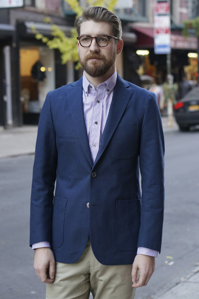 Epaulet Napoli Unconstructed Sportcoat in Navy Duck Canvas