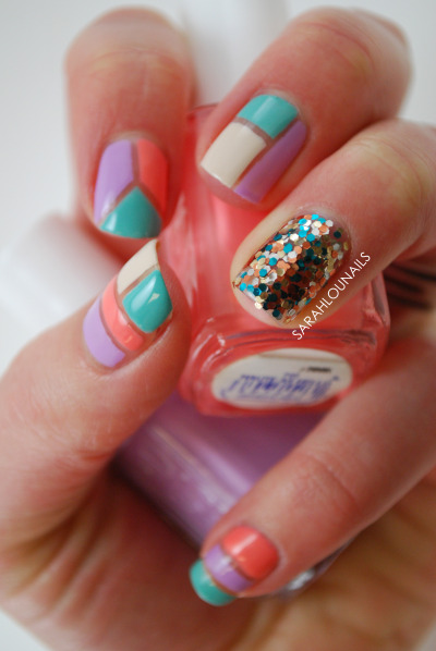 sarahlounails:  Pastel Color Block Nailshttp://sarahlounails.blogspot.com/2013/04/pastel-color-block-nails.html