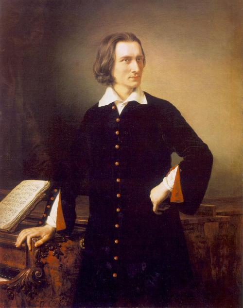 "Pixiedustparcels: Portrait of Liszt.  Clara Schumann:  ""We have heard Liszt. He can be compared to no other virtuoso.  He is the only one of his kind.""  ""When I heard Liszt for the first time…I was overwhelmed and sobbed aloud, it so shook me… how  heavenly it is when he plays tenderly."" Chopin said that Liszt played Chopin's etudes better than he. Liszt's hands/fingers worked wonders on the  piano. (SOURCE FOR PAINTING)"