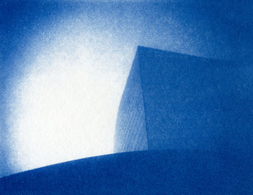 Disney Concert Hall Cyanotype Original shot with a Polaroid Big Swinger using Fuji 3000b instant peel apart film.