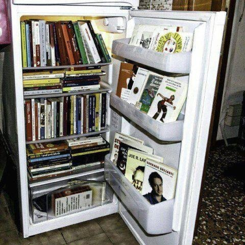 Refrigerator Bookshelves. Wish I had that idea when I lived in New York City!
