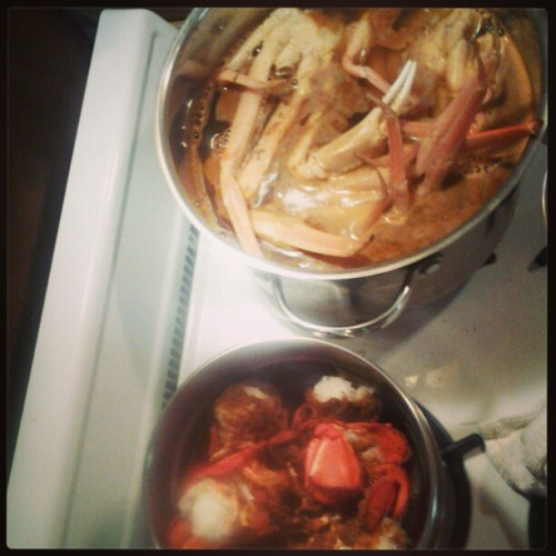 Crab legs and lobster tails for tonight with ice cold coronas :-)