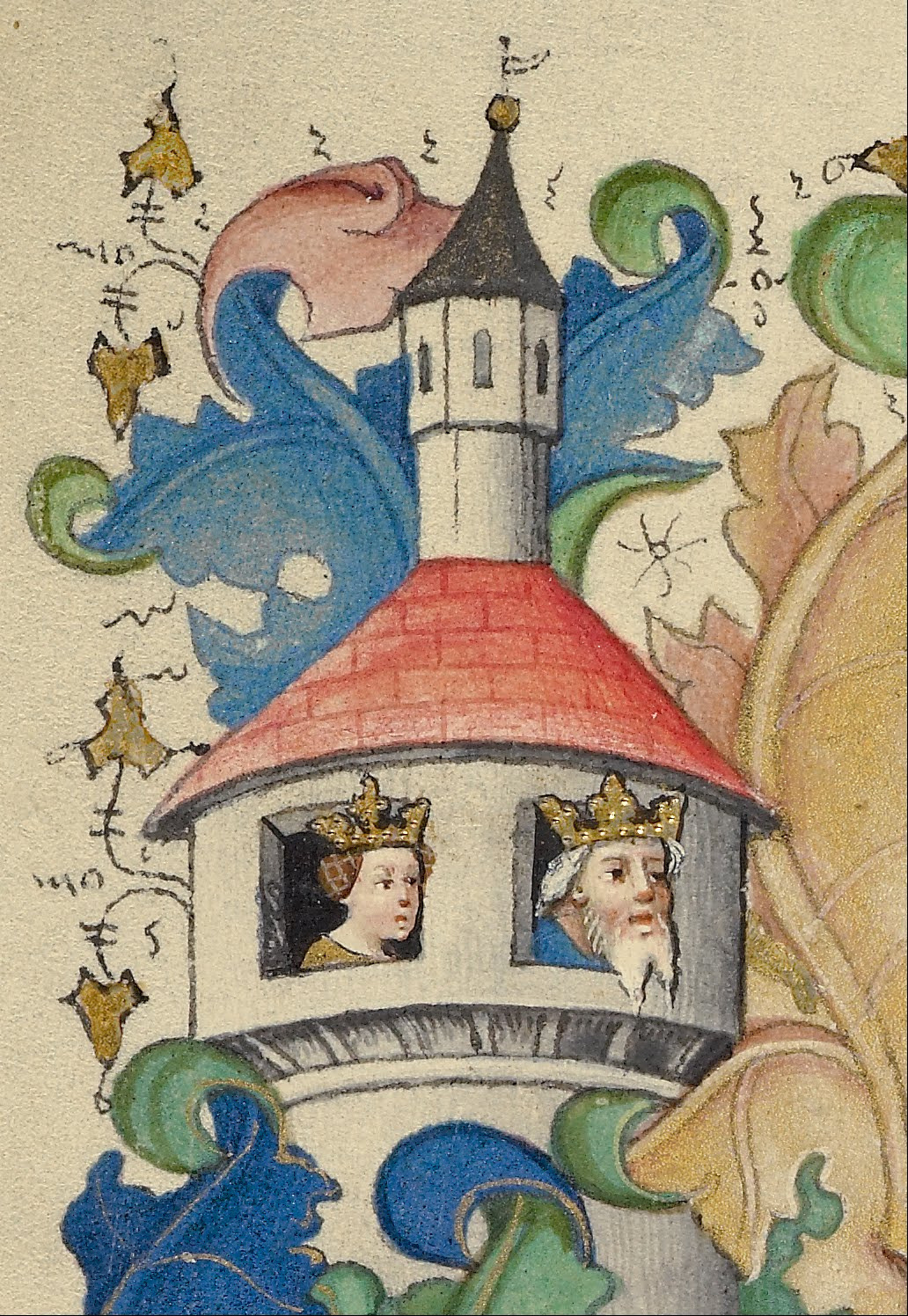 Pretty medieval manuscript of the day is a lovely close-up of a border illustration. I love the details here, the faces peeking out of the tower are so expressive! The gilding is so delicate, with highlights on the leaves and the crowns. I think it's delightful. Image source:Master of Guillebert de Mets, from the Google Art Project via Wikimedia Commons. Image declared as public domain on Wikimedia Commons.