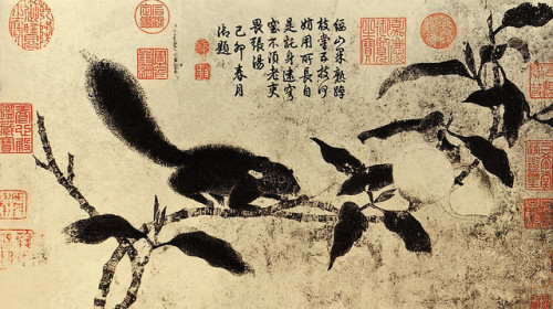 Qian Xuan (1235-1305) - Peach Branches and Squirrel