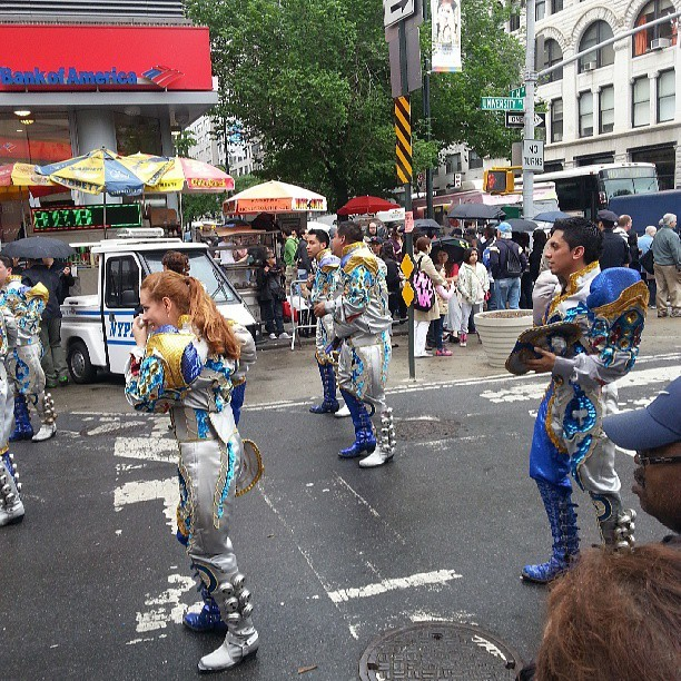 journalofajournalist:  Dancing parade in Union Square. .. just another NYC day!  (at Union Square Greenmarket)