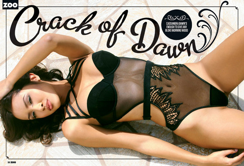 The 'good twin' and Playboy model Cassandra Dawn is stunning in a 4-page feature and interview in the latest issue of Zoo Weekly magazine, Australia.Images from our shoot Cassandra Dawn, available for worldwide editorials and advertorials with approval.