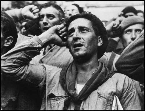 lookingfromsolitude:  Robert Capa: Bidding farewell to the International Brigades, Montblanch, near Barcelona. 1938.
