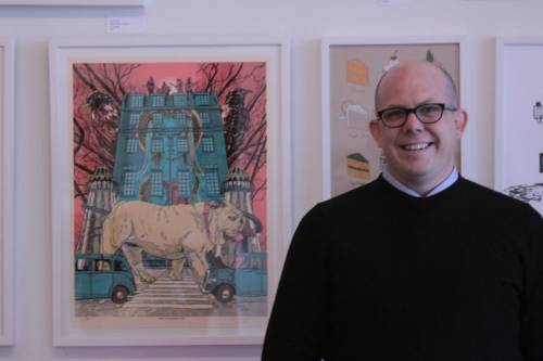 benjaminbenjamin:  Me in front of a Tim Doyle print at Galerie F in Chicago, stay tuned for more posts about Galerie F (and Tim Doyle).