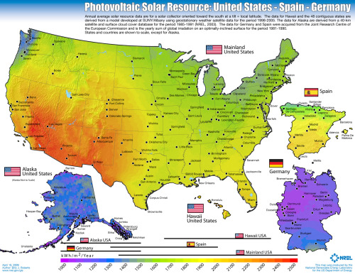 Continuing to map the future I want… just look at the solar potential of the USA! image via Slate