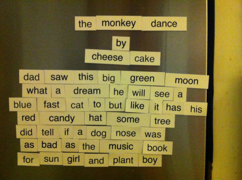 My wife bought a large-size magnetic poetry set today and this is what my 8yo daughter wrote. I really want to make a game about sun girl and plant boy.
