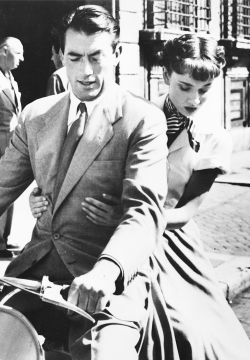 "msmildred:  Gregory Peck and Audrey Hepburn in ""Roman Holiday"", 1953."