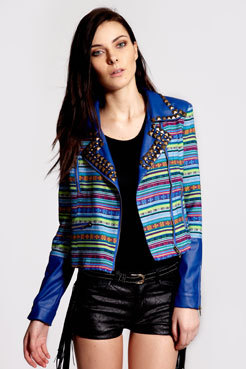 wantering:  Boutique Penny Woven Stud Trim Biker Jacket