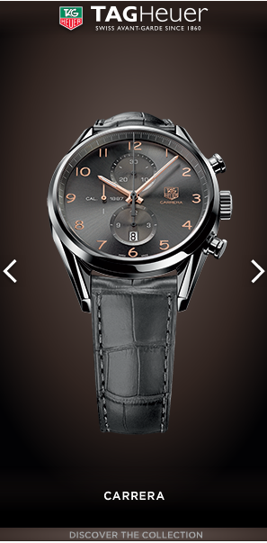 Vertical:  Jewelry & Watch  Advertiser:  TAG Heuer SA   Campaign: TAG Heuer Q1 2013 Features: (Polite) Photo Gallery  Source: demo.pointroll.com