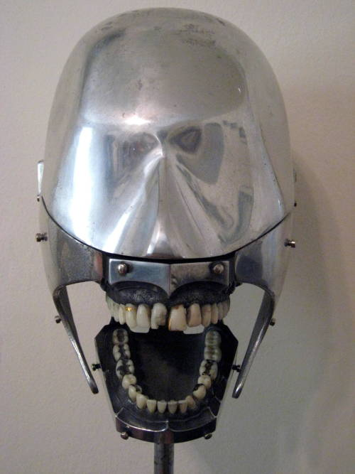 "1930s:  Dental Phantom ""Dental students worked on these for practice. The rivets protruding from the facial area would anchor a rubber face to make it more ""human"" to work on."""