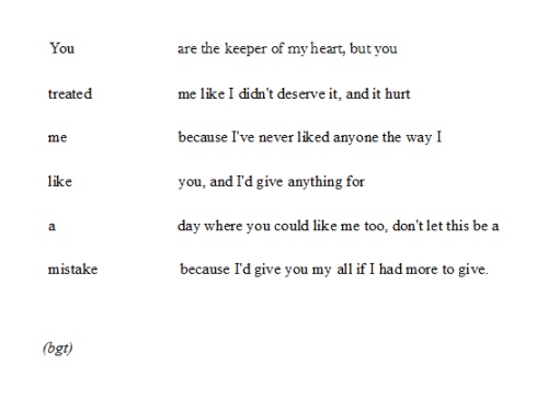 "soredemonao:  26letterscombined:  ""A mistake"" by me. For the wonderful person who requested a poem about being treated like a mistake."