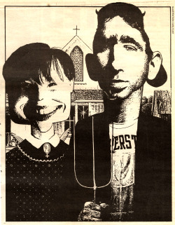 ThrowingMuses. Kristin Hersh and Dave Narcizo illustration used for the review of Red Heaven (4AD/Sire, 1992) in NME, 8th of August 1992 issue. by Carl Flint