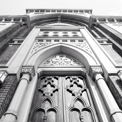 Looking Up.   #Church #Details #Architecture #Cincinnati #Doors #Ornamental #Building #Perspective #BlackAndWhite #Snapseed