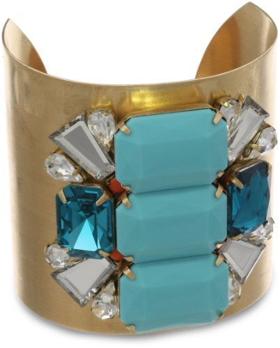 Sandy Hyun Rhinestone Turquoise Cuff Bracelet Price:$120.00 & FREE Shipping and Free Returns.