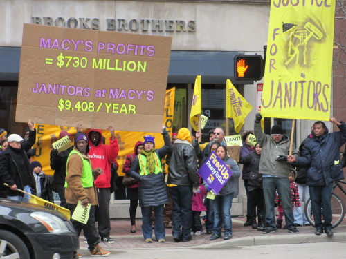 Macy's profits were $730 Million in the 4th quarter of fiscal year 2012. Janitors at Macy's make as little as $9,408 per year. The math isn't hard. Cincinnati janitors need a living wage and a fair contract. You can sign our petition in support of working families here, and you can check out more photos from Saturday's rally on Facebook here.