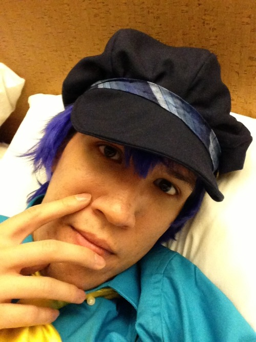 vicechan:  Decompressing in hotel room, still mostly in Naoto cosplay, after long day of Anime Central. Already had some Giodorno's…what's next?  OMG!  This Naoto cosplayer!  He is such a sweetie and a great Naoto, and had a femme Kanji with him!  He ordered the hat from our booth  :)