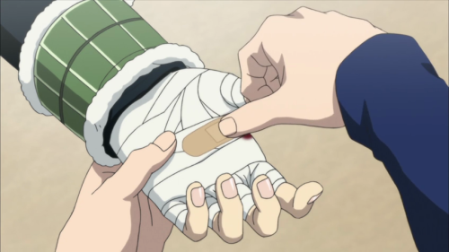slybrue:  that's some a+ first aid skills right there aoba putting a bandaid over a set of bandages like it fixes profuse bleeding