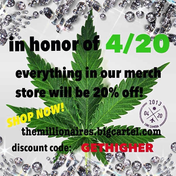 "20% off TIL MIDNIGHT! Code- ""GETHIGHER"" - Shop now! - themillionaires.bigcartel.com💚💚💚💚🎀💎 #millionaires"